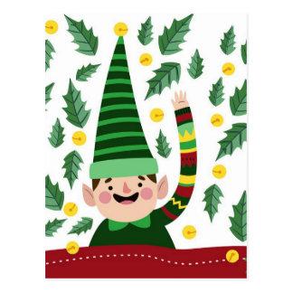 Elf Christmas Green Hat Leaves Cute Greeting Postcard