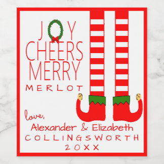 Elf Christmas Merlot Wine Bottle Label Personalize