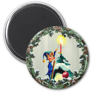 ELF, CONES & CHRISTMAS TREE by SHARON SHARPE 6 Cm Round Magnet