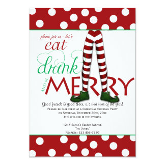 Elf Eat Drink and Be Merry Christmas Party 13 Cm X 18 Cm Invitation Card