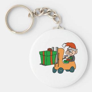 Elf Forklift Basic Round Button Key Ring