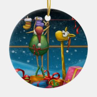 Elf Hanging Up Stockings Ceramic Ornament