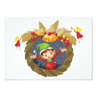 Elf In A Christmas Wreath Invitations