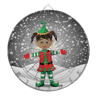 Elf in snow dartboard