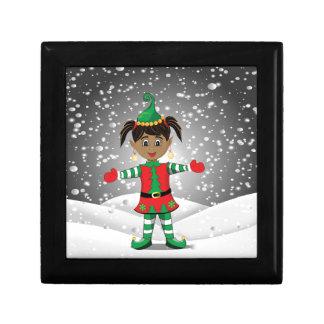 Elf in snow gift box