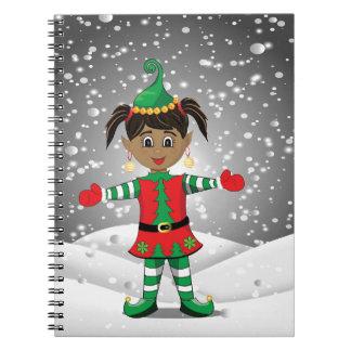 Elf in snow notebook