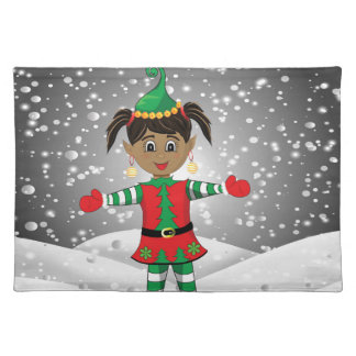 Elf in snow placemat