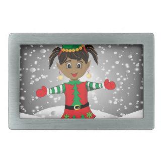 Elf in snow rectangular belt buckle