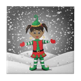 Elf in snow tile