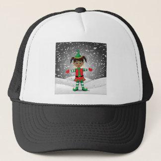 Elf in snow trucker hat