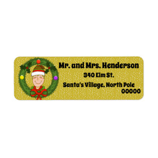 Elf in Wreath Christmas Return Address Labels