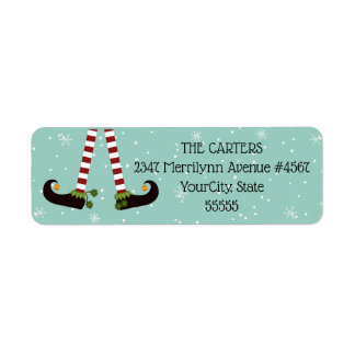 Elf Legs, Changeable Aqua Background Color Return Address Label