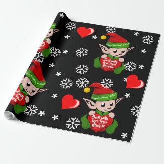 Elf Love Gift Wrap Personalised