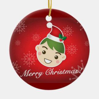 Elf Merry Christmas Round Ceramic Decoration