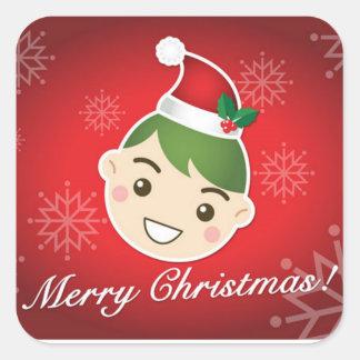 Elf Merry Christmas Square Sticker