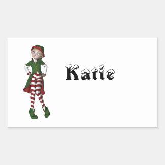 Elf  N  Christmas Rectangular Stickers