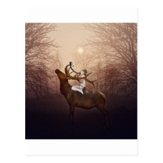 Elf Princess and The Stag Horn Postcard