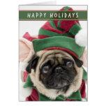 Elf Pug Christmas card