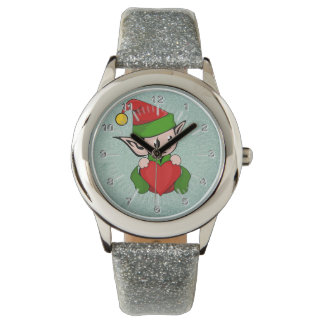 Elf red heart wrist watch