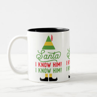 Elf Santa I Know Him Hat and Shoes Tea Coffee Mug