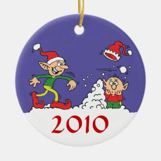 Elf Snowball Fight Ornament