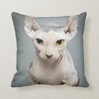 Elf Sphinx Cat Photograph Throw Pillow