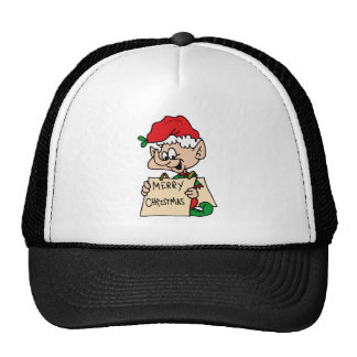 elf with merry christmas sign trucker hats