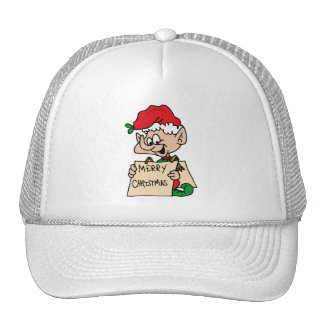 elf with merry christmas sign hats