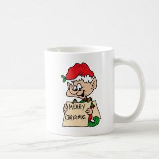 elf with merry christmas sign coffee mug