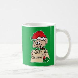 elf with merry christmas sign mug