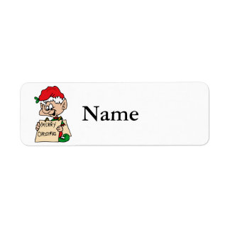 elf with merry christmas sign return address label