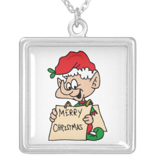elf with merry christmas sign silver plated necklace