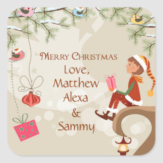 Elf with presents and birds on branches gift tag