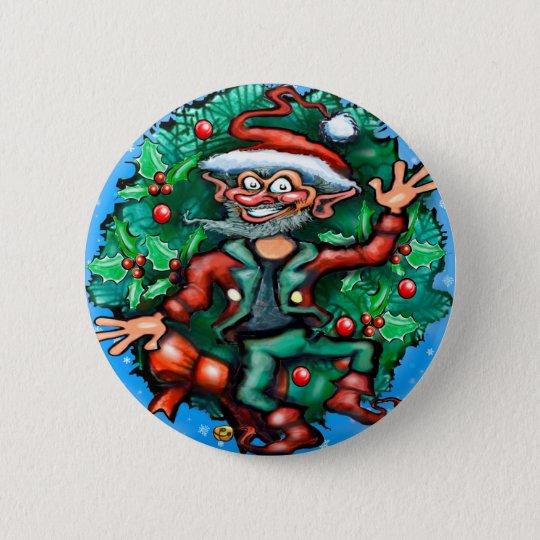 Elf  Wreath 6 Cm Round Badge