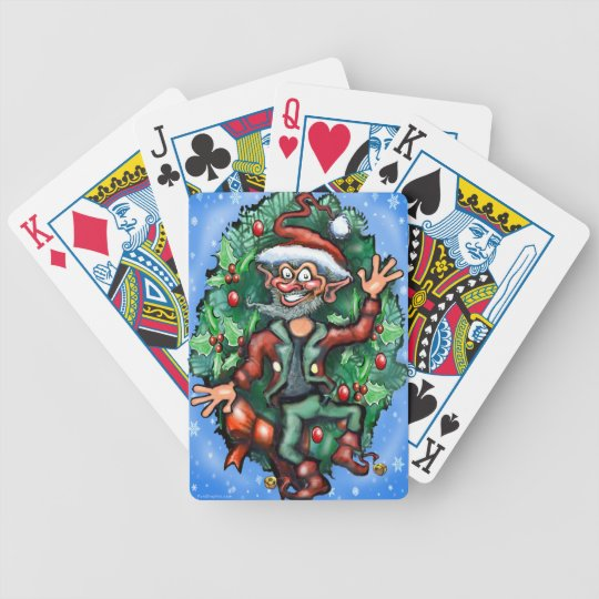 Elf  Wreath Bicycle Playing Cards