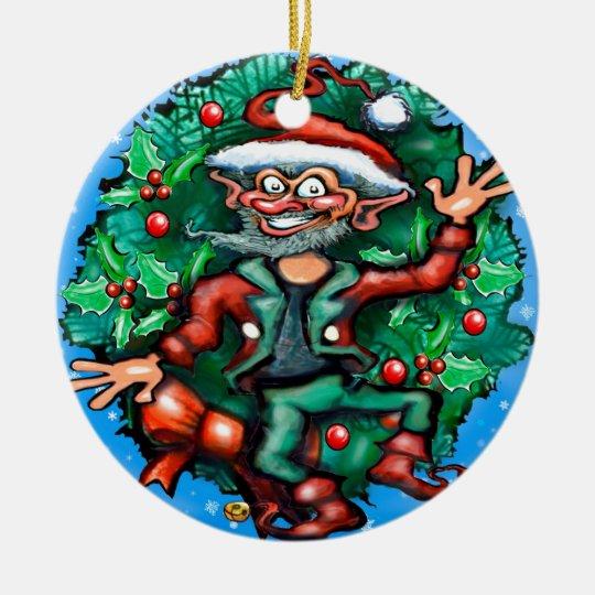 Elf  Wreath Ceramic Ornament
