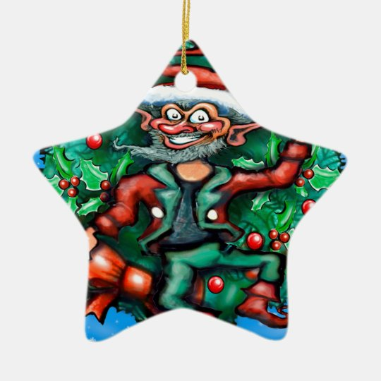 Elf  Wreath Ceramic Ornament
