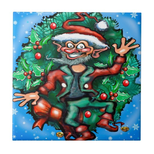 Elf  Wreath Ceramic Tile