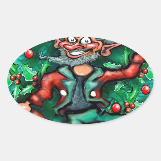 Elf  Wreath Oval Sticker