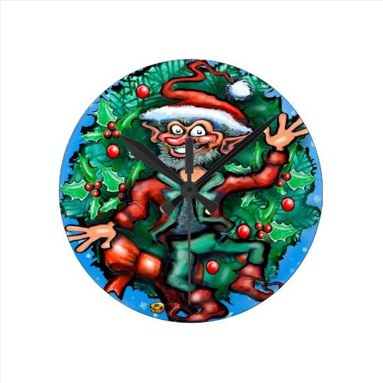 Elf  Wreath Round Clock