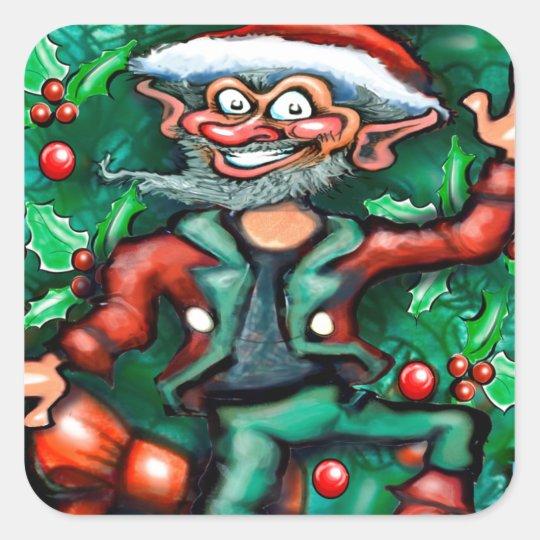 Elf  Wreath Square Sticker