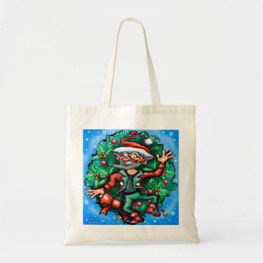 Elf  Wreath Tote Bag