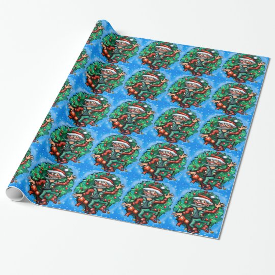 Elf  Wreath Wrapping Paper