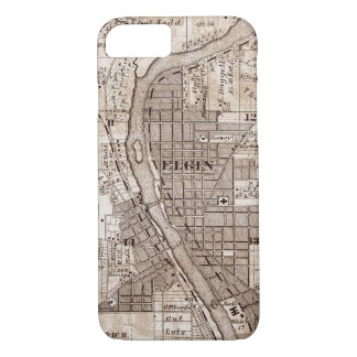 Elgin Illinois 1870 Plat Map Fox River Downtown iPhone 8/7 Case