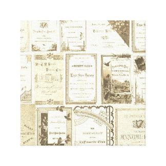 Elgin Illinois 1880's Club Invitations Sepia Paper Canvas Print