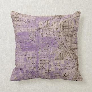 Elgin Illlinois 1870 Plat Map Fox River Downtown Cushion