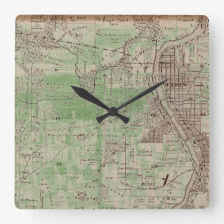 Elgin Illlinois 1870 Plat Map Fox River Downtown Square Wall Clock