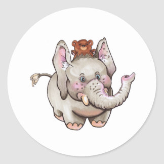 Eli elephant classic round sticker