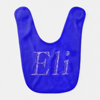 Eli Name Logo On Blue Mosaic Baby Bib