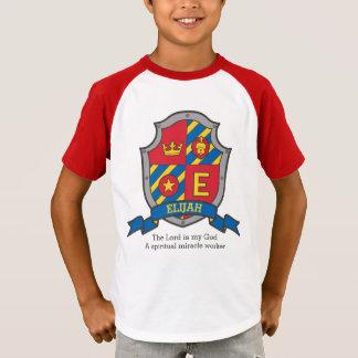 Elijah letter E name meaning boys crested shield T-Shirt